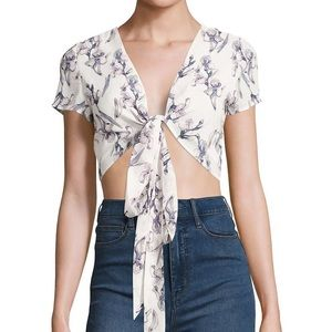 NWT lucca white Multi way tie flower crop top