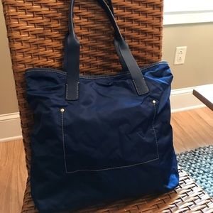 J. Crew nylon and leather tote. Excellent. Blue