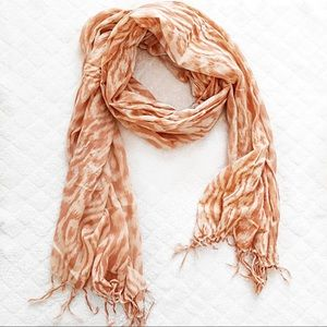 LONG PEACHY AND CREAMY COLORED RECTANGULAR SCARF