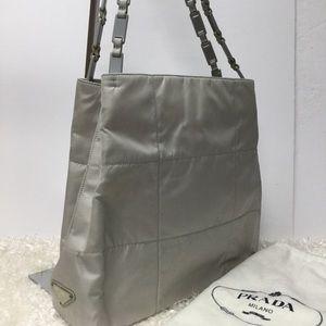 Authentic Prada Gray Nylon Chain Shoulder Bag❤️