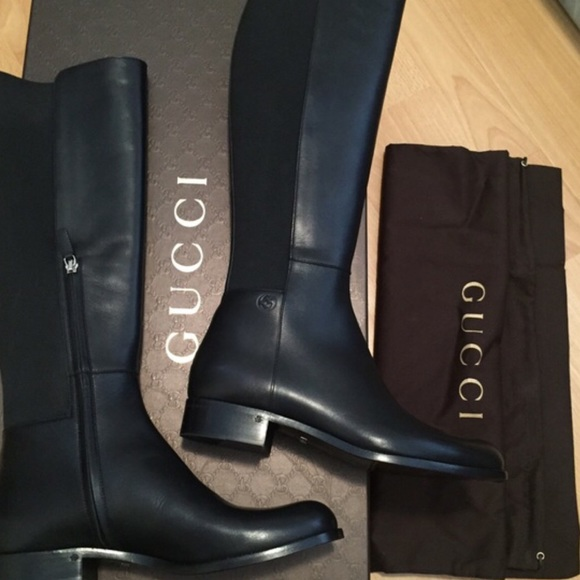 New Gucci Black Knee High Riding Boots
