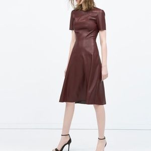 Burgundy Leather Dress