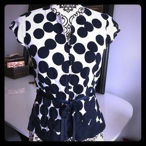 Linen Blend Polka Dot Shirt
