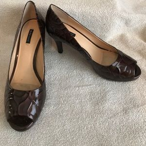 Alex Marie brown patent leather heels size 9 EUC