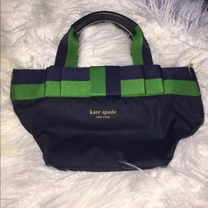 Kate Spade navy and Kelly green mini Tote
