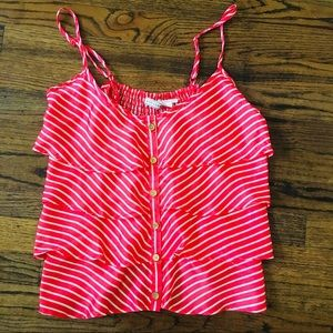 Red and white ruffle top!!!