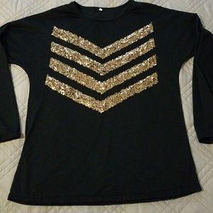 Tops - NWOT black long sleeve Embellished Tee
