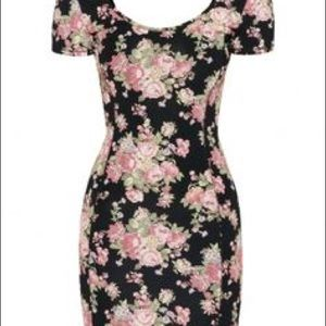 Black Fitted Mini Dress with Floral Print