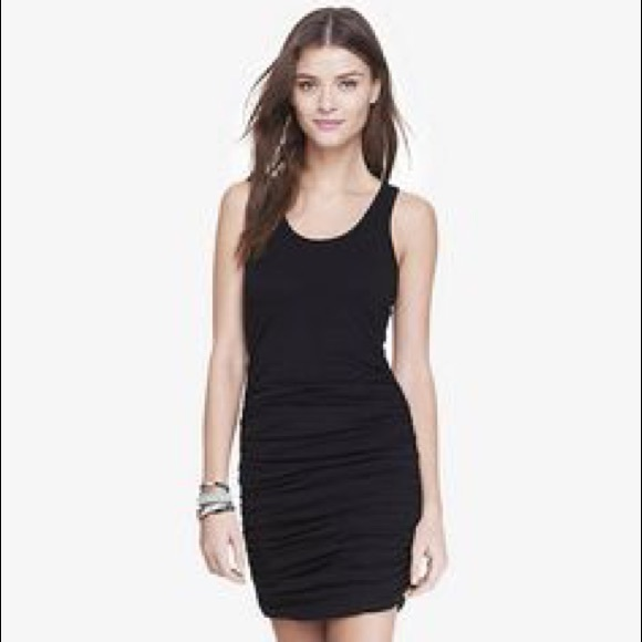 Ruched Black Mini Dress