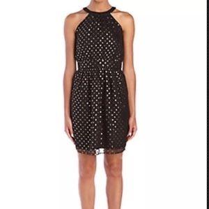 Shoshanna Dress Black Gold Dot silk Metallic