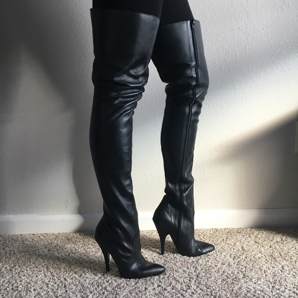Leather Thigh High Stiletto Boots 85