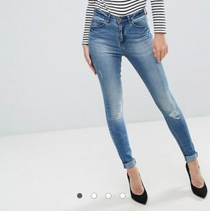 Only You 'Pearl' High Waisted Rip Knee Jeans 28