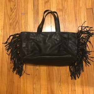 Express Faux Leather Fringe Tote