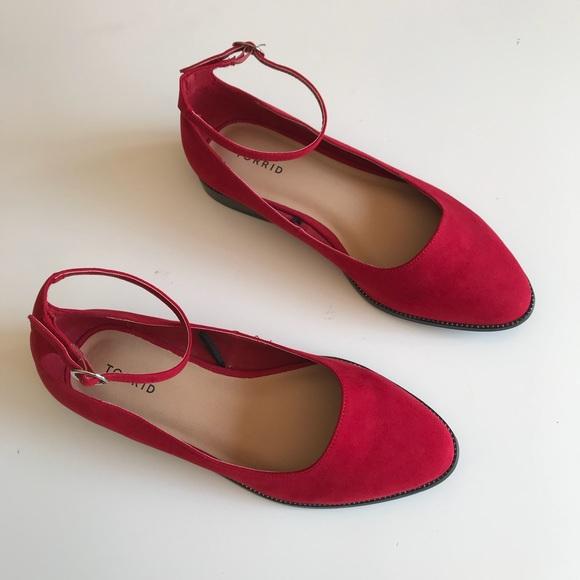 d3ec916b991 Torrid Flats 11 Wide Ankle Strap Red Faux Suede. M 5a0b63a0713fde09360098e5