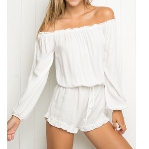 White off the shoulder brandy melville romper