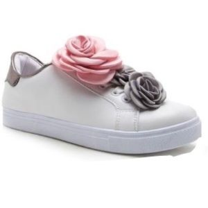 Women's pink and gray silk flower sneakers