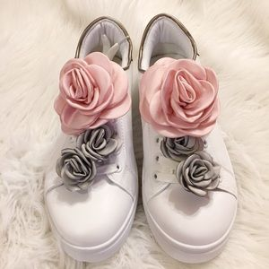 Shoes - Women's pink and gray silk flower sneakers