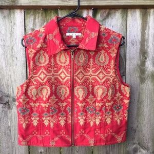 CAbi Zip-Front Vest Red Tapestry Embroidered Sz L