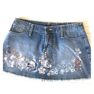 Carmar denim mini skirt Painted with rhinestones
