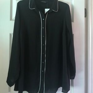 Blouse with white piping