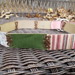 Lucky Brand Patchwork Belt Brown Leather
