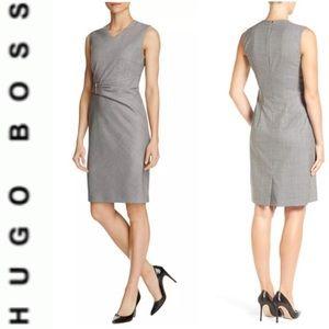 MAKEANOFFER🔥HUGO BOSS VIRGIN WOOL SHEATH DRESS 14