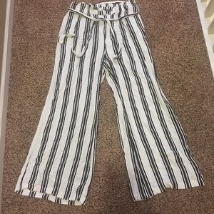 Wide leg striped trousers