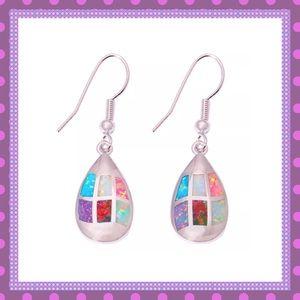 💖Colored Fire Opal Dangle Pierced Earrings💖