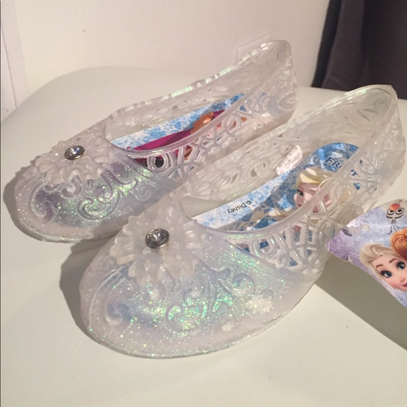 530eb24185930 NWT FROZEN Glitter Jelly Slide Ons Girls Shoes NWT