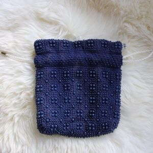 Vintage Navy Beaded Clutch Wristlet Pouch Sack
