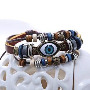 Jewelry - Evil Eye Leather Bracelet