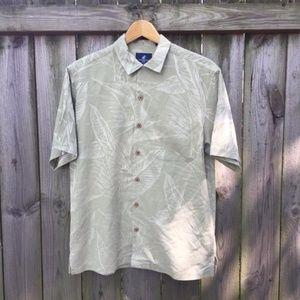 Caribbean Joe 100% Silk Hawaiian Shirt Light Green