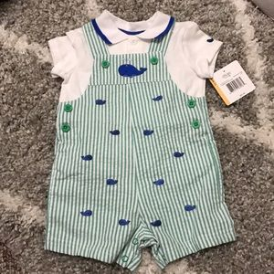 NWT whale overalls and polo shirt