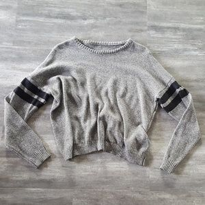 Grey Double Striped Melville Sweater Long Sleeve