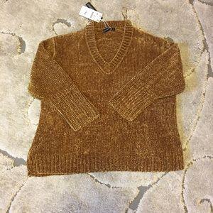 Zara oversized mustard chenille sweater