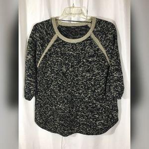 Style & Co Black/Gold Metallic Sweater, Size L