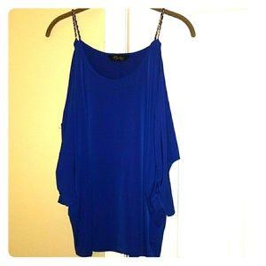 Thalia Sodi Cold Shoulder Chain Blouse Blue Size M