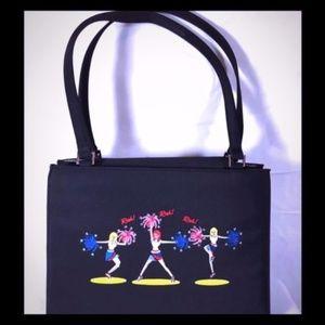 Cheerleader Handbag Black w/Embroidery/Rhinestones