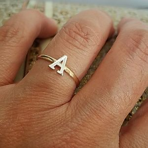 """14k Gold Initial letter """"A"""" Dainty Ring Band"""