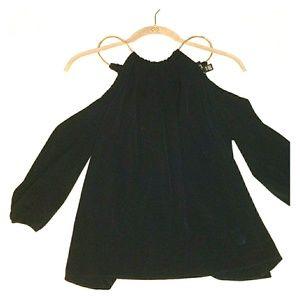 Thalia Sodi Black Chain Halter 3/4 Sleeve Size S
