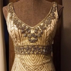 SUE WONG Beaded Art Deco/Gatsby Cocktail Dress