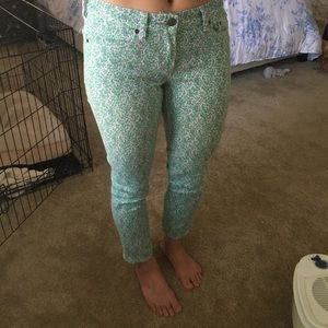J. Crew floral stretch toothpick jeans