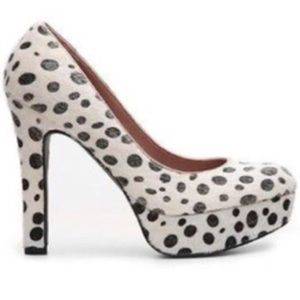 Pink & Pepper white polka dot fury fabric heels