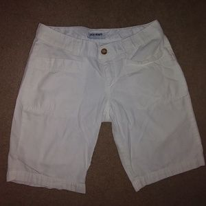 never worn bright white khaki shorts