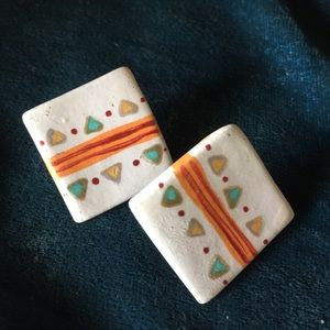 Jewelry - 80s hand painted post earrings