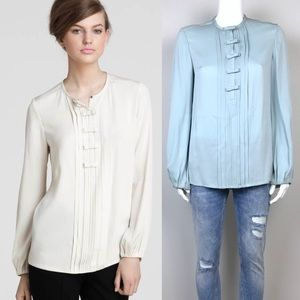 DVF Blouse with Pleats & Mini Bows Details