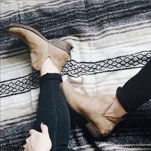 Fabric V Split Tan Ankle Booties