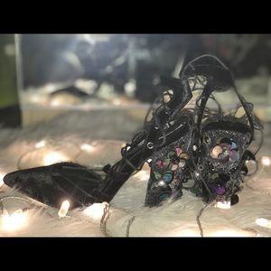 ASOS glitter flower Embellished Pointed heel