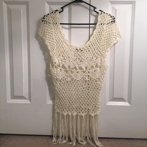 Ivory crochet and tassel top