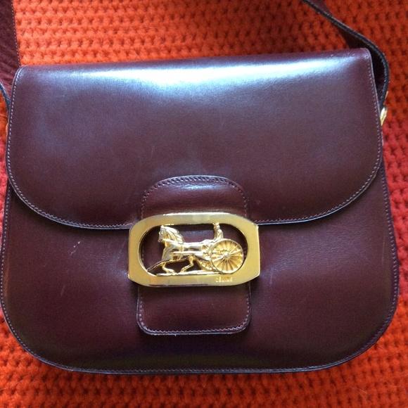 Celine Handbags - Celine Paris Maroon Leather Horse Carriage Purse 68317366b021b